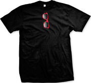 Red Realistic Sunglasses Hanging From Neck Of Shirt - Funny Mens T-shirt