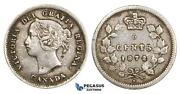 Zm732, Canada, Victoria, 5 Cents 1872-h, Heaton, Silver, Gvf Lightly Cleaned