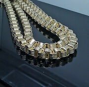 New 10k Yellow Gold Menand039s Byzantine Chain 26 Inch 12mm Franco Cuben Rope Box