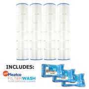 4 Pack Pleatco Pa137-pak4 Pool Cartridges Hayward W/ 3x Filter Washes