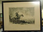 Rare Antique 1925 Western Etching / Lithograph Print Signed And Dated
