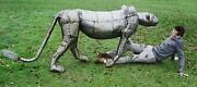 Rustic Recycled Patchwork Metal Hand Made Lioness Animal Garden Sculpture