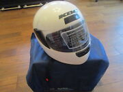 New Kbc Motorcycle Helmet White Clear Open And Close Shield Visor Size Med Tk-77