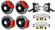 Wilwood Disc Brake Kit And Drop Spindles,71-87 Chevy C10,gmc C15,12 Drilled,red