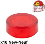 Lego 10x Tile Round Plaque Rond Lisse 1x1 Rouge Transparent/trans Red 98138 Neuf