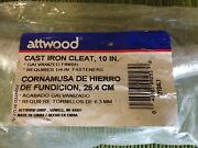 8- Attwood Marine Deck Cast Iron 10 Galvanized Dock Cleats New In Package