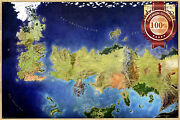 The Known World Game Of Thrones Got Map Art Colour Art Print Premium Poster