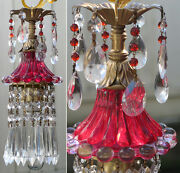 Lamp Chandelier 1o5 Bubble Depression Ruby Glass Vintage Swag Brass Bead Crystal