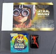 Star Wars Episode 1 Promo Darth Maul Pin And Dvd Release Cards + Jar Jar Bandages