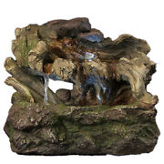 Water Fountain - Aged Tree Trunk Indoor Electric Tabletop Fountain And Led Lights