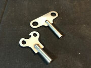 Old Vtg Antique Collectible Pair Of Metal Clock Keys