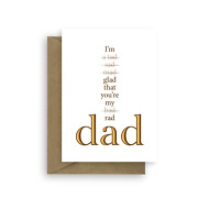 Fatherandrsquos Day Card Funny Card For A Rad Dad Humorous Typography Dad Day Card