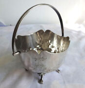 Rare Vintage Flowers Ornate Footed Gryphon Legs Silverplate Open Dish Bowl