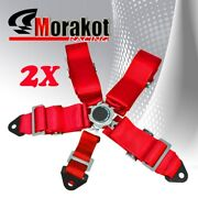 2x Pair Jdm 3and039and039 Inch Nylon Strap 5 Point Camlock Racing Seat Belt Harness Red