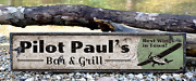 Custom Aviation Pilot Flying Bar And Grill - Rustic Vintage Wooden Sign
