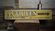 Antiques This Way, Custom Family Name - Rustic Distressed Wood Sign