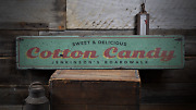Cotton Candy Beach Boardwalk Food - Rustic Distressed Wood Sign