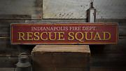 Rescue Squad Custom Fire Department - Rustic Distressed Wood Sign