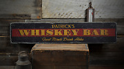 Great Minds Drink Alike Whiskey Bar - Rustic Distressed Wood Sign