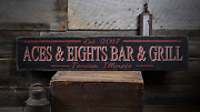 Custom Bar And Grill Bar Decor - Rustic Vintage Distressed Wooden Sign