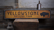 Buffalo Yellowstone National Park - Rustic Distressed Wood Sign