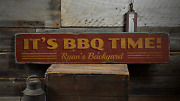 Itand039s Bbq Time Custom Backyard Barbecue - Rustic Distressed Wood Sign