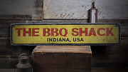 The Bbq Shack, Custom Bbq Gift For Dad - Rustic Distressed Wood Sign