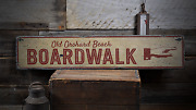 Pointing Hand Boardwalk Beach - Rustic Distressed Wood Sign