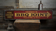 Bbq Joint Arrow Best Grillinand039 In Town - Rustic Distressed Wood Sign