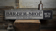Barber Shop Custom Weand039re Open Decor - Rustic Distressed Wood Sign