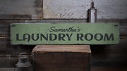 Laundry Room Custom Laundry Service - Rustic Distressed Wood Sign