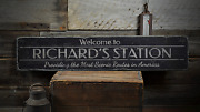 Welcome Train Station, Custom Conductor - Rustic Distressed Wood Sign