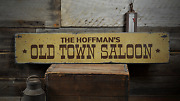 Old Town Saloon Custom Family Name - Rustic Distressed Wood Sign