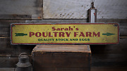 Poultry Farm, Custom Arrow Quality - Rustic Distressed Wood Sign