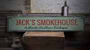 Smokehouse Southern Bbq Barbeque Gift - Rustic Distressed Wood Sign