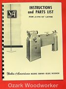 Yates-american J-170 12 Variable Speed Wood Lathe Operator And Parts Manual 0762