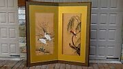 Antique 19c Japanese 2 Panel Watercolor On Silk With Cranes And Parrot Room Screen