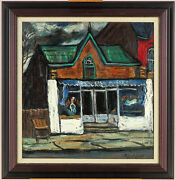 Ross Robertshaw 1919-1979 Canadian Listed Vintage 1960and039s Oil/board Streetscape