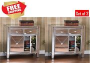 Drawer Cabinet Mirrored Nightstands Bedroom Side Table Storage Silver Accent