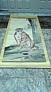 Antique 19c Japanese Large Watercolor Scroll Painting W/seated Tigerandcalligraphy