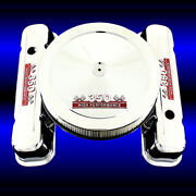 Tall Valve Covers And Air Cleaner For Pontiac 350 Engine Chrome Red 350 Emblems