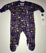 Baltimore Ravens 6 Months Infant Full Zip Footed Pajama Sleeper Coverall Nwt