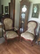 Antique Victorian Living Room Furniture Set Upholstered Mahogany Couchchairs