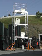 Aluminum Scaffold Rolling Tower 17and039 Standing High With Hatch Decks Guard Rail