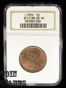 1854 N-11 Braided Hair Large Cent 1c Ngc Ms 65 Bn Gem Bu Uncirculated Type Coin