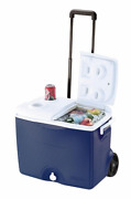 Rubbermaid 45 Qt. Wheels Cooler With Cup Holder Ice Chest Box Camping Outdoors