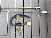 Vtg Masonic Ceremonial Sword W/scabbard And Belt Engraved Blade Knights Horses