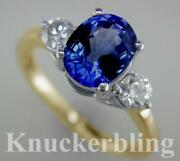 Blue Sapphire And F Vs Diamond Ring 2.55ct In 18ct Yellow Gold Engagement 3-stone