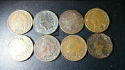 Indian Head Pennies Lot 8 Coins 1902 1903 1904 1905 1906 1907