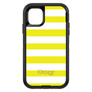 Otterbox Defender For Apple Iphone Pick Model Yellow And White Bold Stripes